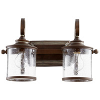 San Miguel 18 inch Vintage Copper Vanity Wall Light, Clear Seeded