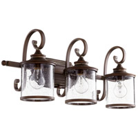 Quorum 5073-3-39 San Miguel 3 Light 27 inch Vintage Copper Vanity Wall Light Clear Seeded