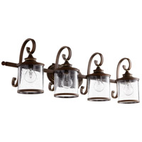 Quorum 5073-4-39 San Miguel 36 inch Vintage Copper Vanity Wall Light, Clear Seeded