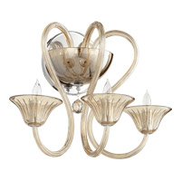 Quorum International Vivaldi 3 Light Wall Mount in Chrome with Cognac 509-3-614