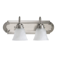 Quorum 5094-2-165 Signature 2 Light 18 inch Satin Nickel Vanity Light Wall Light in Faux Alabaster