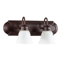 Quorum International Signature 2 Light Vanity Light in Oiled Bronze with Faux Alabaster 5094-2-186