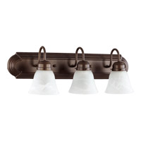 Quorum International Signature 3 Light Vanity Light in Oiled Bronze with Faux Alabaster 5094-3-186
