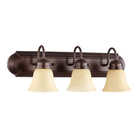 Quorum International Signature 3 Light Vanity Light in Oiled Bronze with Amber Scavo 5094-3-386