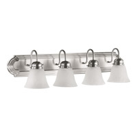 Quorum 5094-4-165 Signature 4 Light 30 inch Satin Nickel Vanity Light Wall Light in Faux Alabaster