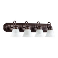 Quorum 5094-4-186 Signature 4 Light 30 inch Oiled Bronze with Faux Alabaster Vanity Light Wall Light