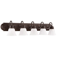 Quorum 5094-5-144 Signature 5 Light 36 inch Toasted Sienna Vanity Light Wall Light in Faux Alabaster