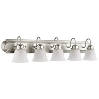 Signature 5 Light 36 inch Satin Nickel Vanity Light Wall Light in Faux Alabaster