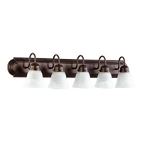 Quorum International Signature 5 Light Vanity Light in Oiled Bronze with Faux Alabaster 5094-5-186