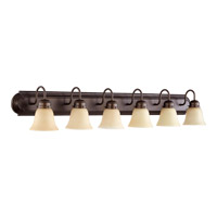 Signature 6 Light 48 inch Oiled Bronze with Amber Scavo Vanity Light Wall Light