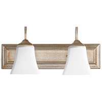 Quorum 5104-2-60 Signature 18 inch Aged Silver Leaf Vanity Wall Light, Satin Opal