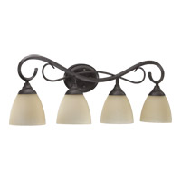 Quorum 5108-4-44 Powell 4 Light 32 inch Toasted Sienna Vanity Light Wall Light