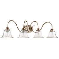 Quorum 5110-4-60 Spencer 4 Light 34 inch Aged Silver Leaf Vanity Wall Light Clear Seeded