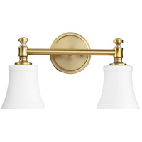 Quorum 5122-2-80 Signature 16 inch Aged Brass Vanity Wall Light, Satin Opal