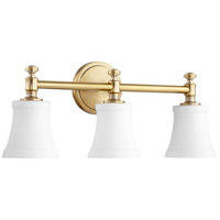 Quorum 5122-3-80 Signature 22 inch Aged Brass Vanity Wall Light, Satin Opal