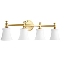 Quorum 5122-4-80 Signature 30 inch Aged Brass Vanity Wall Light, Satin Opal