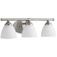 Quorum 5150-3-65 Brooks 21 inch Satin Nickel Vanity Wall Light in 3, Satin Opal