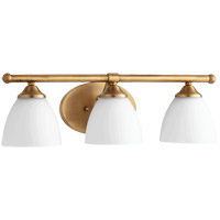 Quorum 5150-3-80 Brooks 21 inch Aged Brass Vanity Wall Light in 3, Satin Opal