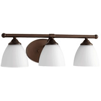 Quorum 5150-3-86 Brooks 21 inch Oiled Bronze Vanity Wall Light in 3, Satin Opal