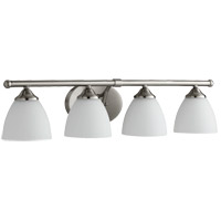 Quorum 5150-4-65 Brooks 29 inch Satin Nickel Vanity Wall Light in 4, Satin Opal