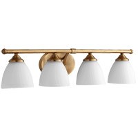 Quorum 5150-4-80 Brooks 29 inch Aged Brass Vanity Wall Light in 4 Satin Opal