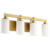 Quorum 5207-4-80 Lancaster 4 Light 28 inch Aged Brass Vanity Light Wall Light, back plate is 12 x 5