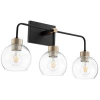 Quorum 532-3-6980 Lacy 3 Light 24 inch Noir and Aged Brass Vanity Light Wall Light