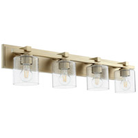 Quorum 5369-4-280 Fort Worth 4 Light 33 inch Aged Brass Vanity Light Wall Light