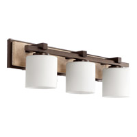 Quorum International Travertine 3 Light Vanity Light in Oiled Bronze 5370-3-86