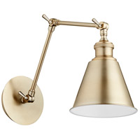 Quorum 5391-80 Metal Cone 29 inch 100 watt Aged Brass Swing Arm Wall Sconce Wall Light