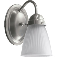Signature 1 Light 4 inch Satin Nickel Wall Sconce Wall Light in White Ribbed