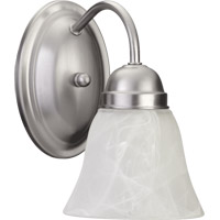 Quorum 5403-1-65 Signature 1 Light 5 inch Satin Nickel Wall Sconce Wall Light in Faux Alabaster