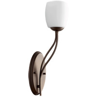 Quorum 5412-1-186 Willingham 5 inch Oiled Bronze Wall Mount Wall Light Satin Opal