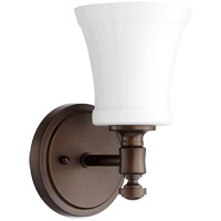 Quorum 5422-1-186 Signature 5 inch Oiled Bronze Wall Mount Wall Light in Satin Opal, Satin Opal