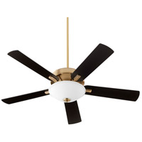 Quorum 54525-80 Premier 52 inch Aged Brass with Reversible Matte Black and Walnut Blades Ceiling Fan