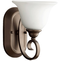 Quorum 5453-1-186 Celesta 7 inch Oiled Bronze Wall Mount Wall Light in Satin Opal, Satin Opal