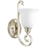 Quorum 5454-1-60 Bryant 7 inch Aged Silver Leaf Wall Mount Wall Light in Satin Opal Satin Opal