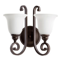 Quorum International Bryant 2 Light Wall Mount in Oiled Bronze with Satin Opal Glass 5454-2-186