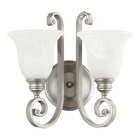 Quorum 5454-2-64 Bryant 2 Light 15 inch Classic Nickel Wall Sconce Wall Light in Faux Alabaster