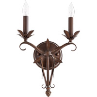 Quorum International Flora 2 Light Wall Mount in Vintage Copper 5472-2-39