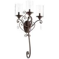 Quorum 5473-3-39 San Miguel 16 inch Vintage Copper Wall Mount Wall Light Clear Seeded
