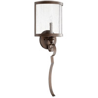 Quorum 5481-1-39 Champlain 9 inch Vintage Copper Wall Mount Wall Light, Clear Water Glass
