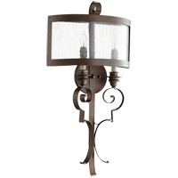 Quorum 5481-2-39 Champlain 15 inch Vintage Copper Wall Mount Wall Light, Clear Water Glass