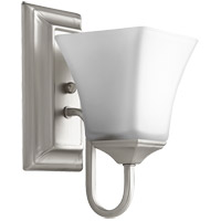 Quorum 5504-1-65 Signature 5 inch Satin Nickel Wall Mount Wall Light, Satin Opal