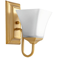 Quorum 5504-1-80 Signature 5 inch Aged Brass Wall Mount Wall Light, Satin Opal photo thumbnail