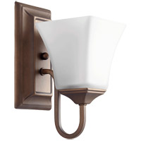 Quorum 5504-1-86 Signature 5 inch Oiled Bronze Wall Mount Wall Light, Satin Opal