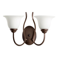 Quorum International Spencer 2 Light Wall Mount in Oiled Bronze with Satin Opal Glass 5510-2-186