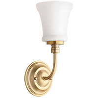 Quorum 5522-1-80 Rossington 1 Light 5 inch Aged Brass Wall Sconce Wall Light in Satin Opal