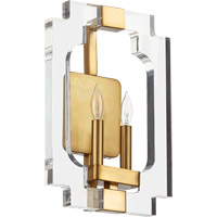 Quorum 555-2-80 Broadway 2 Light 11 inch Aged Brass Wall Sconce Wall Light