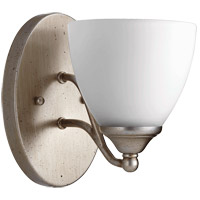 Brooks 6 inch Aged Silver Leaf Wall Mount Wall Light, Satin Opal